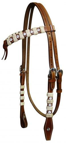 Showman Futurity Knot Headstall & Reins With Rawhide Braid and Crystals | ChickSaddlery.com