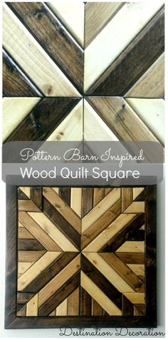 Wood Projects Instructions for how to make your own Pottery Barn-inspired wood quilt square for a fraction of the price. - A full tutorial showing how to make a Pottern Barn inspired wood quilt square using only wood and stain. Diy Wood Projects, Wood Crafts, Diy Crafts, Outdoor Projects, Make Your Own Pottery, Bois Diy, Barn Quilt Patterns, Wood Patterns, Pottery Barn Inspired