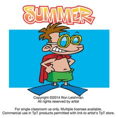 Summer is almost here and the kids in this collection are ready to go. They'll miss their teachers of course, but hey, summer is calling!  Summer includes 18 unique cartoon images of kids enjoying summer vacation in a variety of humorous situations.