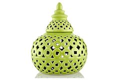 "9"" Pierced Covered Ceramic Jar, Green on OneKingsLane.com"