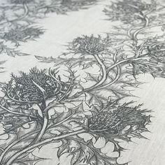 #FabricFriday TB Thistle Fabric suitable for drapery and light upholstery. . . . . . #design #fabric #thistles #textiles #handprinting #drapery #upholstery #interiors #timorousbeasties