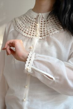 silk cotton blouse with silk crocheted details by Yuka Maeda