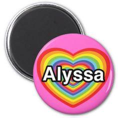 J'aime Alyssa, coeur d'arc-en-ciel Magnet Rond 8 Cm