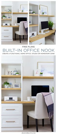 A DIY built-in office nook provides the perfect space for a home office, studio or homework zone.