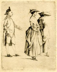 1747-1771. Two women and a man walking on a terrace, the man wearing a tricorn and wig with a queue, approaching the nearer of the women, gesturing with left hand, the other in his pocket, the women looking to right, the foremost wearing a straq hat, the other a bonnet with a broad brim curled up and cloak; state before background, burr on the figures still heavy.  Drypoint