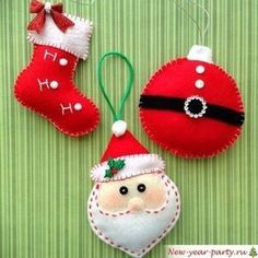 Santa Felt Christmas Ornaments - set of 3 red and white ornaments - handmade and design in felt - Christmas Felt Ornaments Felt Christmas Decorations, Felt Christmas Ornaments, Handmade Ornaments, Handmade Christmas, Christmas Crafts, White Ornaments, Christmas Projects, Felt Crafts, Holiday Crafts