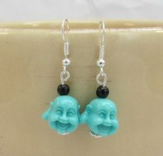 Blue Buddha Head Earrings. by SpiritualPathways on Etsy, $6.00