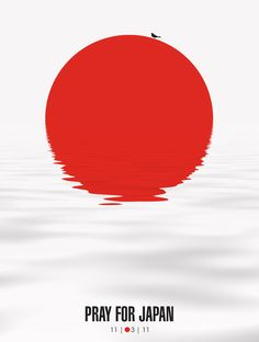 Another extremely effective way to get the point across. Looking at this we can read that it's about asking for help for Japan and the red sun obviously portrays that but on closer viewing you can realize that the water ripples on the bottom half of the image represent the tsunami that Japan experienced in 2011.