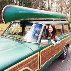 love the green on the wagoneer | via SANBORN CANOE Co.
