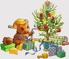 Muisje pakt Cadeautje in