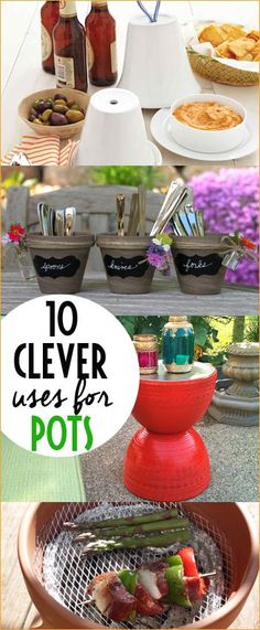 10 Clever Uses For Pots.  Tips and tricks for pots.  Pot hacks that will amaze you!  Give these projects a try to create some retro home decor or cool entertaining eseentials.