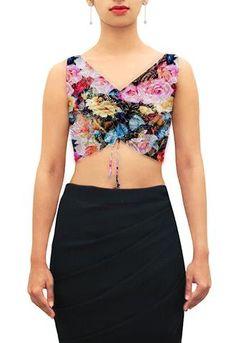 floral - Rose digital print lycra V neck. Customize further or Design your own now at houseofblouse.com #saree #blouse #sareeblouse #blousedesigns #desi #indianfashion #india #vneck#floral #lycra