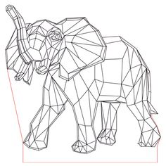 Elephant 3d illusion led lamp plan vector file for CNC - 3bee-studio