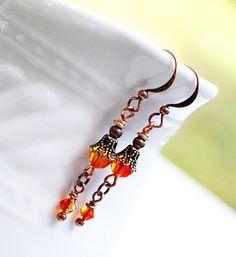 Orange Bead Earrings Boho Chic Dangle Drop by LittleBitsOFaith
