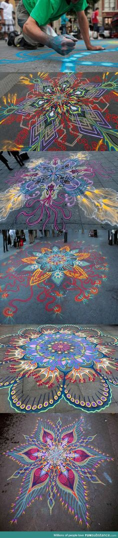Beautiful sand paintings created by hand