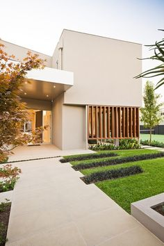 Warm minimalist landscape design.