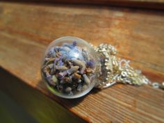 Lavender necklace real flower necklace terrarium by LisaDecorGifts