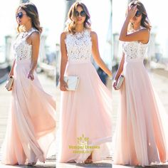 vampal.co.uk Offers High Quality Pink Lace Bodice Chiffon Skirt A Line Long Bridesmaid Dress,Priced At Only USD $168.00 (Free Shipping)