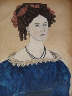 Moses B Russell Watercolor Portrait Miniature Painting Antique American Folk Art