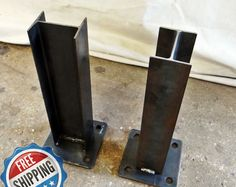 Square-Rectangular Modern Dining Table Legs, Industrial Legs, Set of 2 Steel Legs