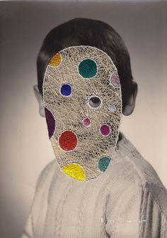 Maurizio Anzeri Enrico 2014 Embroidery on photograph 18 x 13 cm