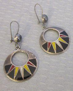 Mexico Silver And Enamel Sun Ray Hoop Drop Earrings