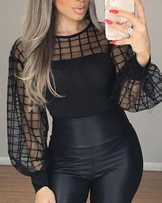 Sheer grid mesh casual shirt Women Long sleeve tops womens top Black plaid slim tops summer 2019 Lantern sleeve blusas, Black / S Trend Fashion, New York Fashion, Look Fashion, Fall Fashion, Fashion Ideas, Latest Fashion, Fashion Online, Mode Outfits, Casual Outfits