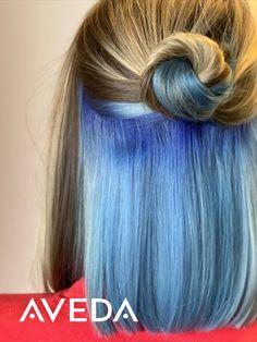 Fashion hair color ideas: blue highlights on blonde hair - Under Hair Color, Hidden Hair Color, Hair Color Underneath, Peekaboo Hair Colors, Hair Color Blue, Blonde Color, Blonde Hair With Highlights, Hair Color Balayage, Blonde Balayage