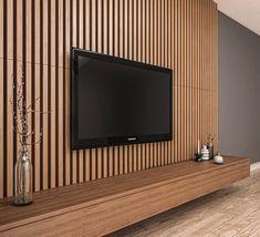 Wood Slat Wall, Wood Panel Walls, Wood Slats, Tv Wall Panel, Wood Wall Paneling, Wall Tv, Panelling, Tv Wall Design, House Design