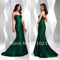 Free Shipping ElyseDress Sheath strapless Ruched Bodice Taffeta Long  Dark Green Prom Dresses $105.00