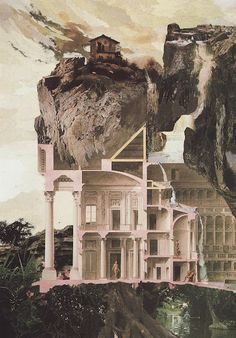 'The House in the Cliff'. Collage by Nils Ole Lund.
