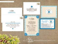 Island Wedding Collection - Destination wedding- Invitation, Reply Card, Enclosure Card - FREE SHIPPING