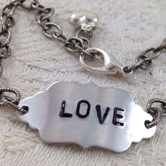 #LOVE Adjustable #Bracelet Silver Plated Chain by #DuctTapeAndDenim #jewelry #handstamped #handmade