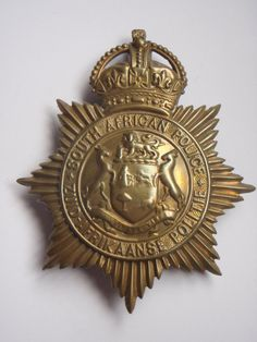 South African Police Helmet Plate - King's Crown Law Enforcement Badges, Kings Crown, Police Patches, Ol Days, Crests, African History, Good Ol, Flags, Warriors