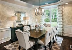 Stunning Transitional Dining Room Furniture Transitional Dining Room Design Ideas Remodels Photos With in Home Interior Design Reference Room Wallpaper Designs, Dining Room Wallpaper, Dining Room Wall Decor, Dining Room Sets, Dining Room Design, Dining Room Furniture, Room Chairs, Dining Area, Dining Room With Buffet