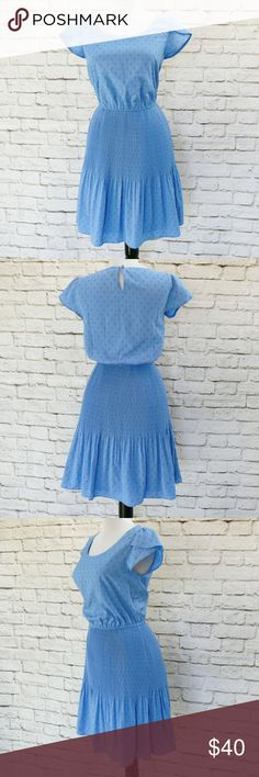 ELLE Blue Polka Dot Pleated Flared Mini Dress XS ELLE Blue Micro Polka Dot Pleated Mini Dress Fluted Skirt Flutter Sleeve XS $79  Pre-owned, but in amazing condition with no flaws! Dress from Macy's, ELLE brand, size XS. Faux silk machine washable polyester. Cornflower blue with embroidered sets of polka dots. Flutter sleeves, elastic waist, mini-pleated skirt with fluted/flared bottom. Slip layer underneath. Retailed for $79.  Measurements are in inches: bust = 34 waist = 23-34 hips = 38-44…