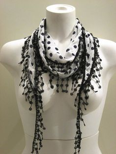 Black and White Elegance Shawl / Scarf with Lace by SwedishShop, $15.90
