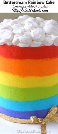 Cheerful Buttercream Rainbow Cake! Free Video Tutorial by MyCakeSchool.com. Online Cake Tutorials, Videos, and Recipes!