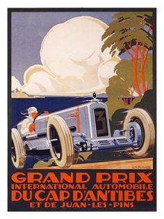 AP970 - Grand Prix de Cap d'Antibes, Motor Racing Poster, Artist: Alexis Cowl, 1929