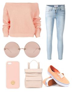 """""""Challenge // Day 2 ~ Orange"""" by socialcasualtyk ❤ liked on Polyvore featuring Tory Burch, Boohoo, Whistles, Linda Farrow, Vans and Frame Denim"""
