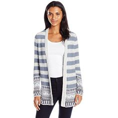 Women's Geo Border Cardigan Sweater * You can find more details by visiting the image link. (This is an affiliate link) #Sweaters