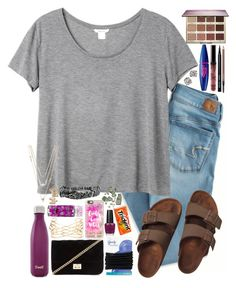 """""""Untitled #429"""" by lovemyariana ❤ liked on Polyvore featuring American Eagle Outfitters, Monki, Birkenstock, tarte, Maybelline, Bobbi Brown Cosmetics, MAC Cosmetics, Tiffany & Co., S'well and Forever 21"""