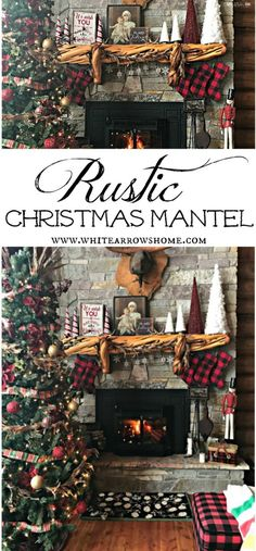 christmas mantle buffalo plaid stockings and rustic decor - Rustic Plaid Christmas Decor