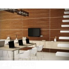Update your office space with dark walnut wood paneling and see what a difference it makes. Natural wood wall panels can unify a work space, add warmth and character, and ultimately lead to an increase in creativity and production. Wood Slat Wall, Wood Plank Walls, Wooden Wall Panels, Rustic Wood Walls, Wood Slats, Wooden Walls, Wood Veneer, Plywood Walls, Modern Wall Paneling