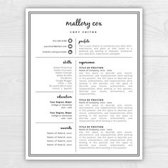 lifestyle Resume Template with Icons for Microsoft Word & Mac Pages: Mallory Cox - Instant Download - US Letter and A4 sizes included - Mac & PC compatible using Microsoft Word or Mac Pages SALE // HUGE summer sale!!! Limited time only! All 1-page resume templates on sale for $1 BONUS // Each template Instruction Guides for both Microsoft Word and Mac Pages, as well as my 20-page Resume Guide filled with writing tips, resume do's and don'ts, a linkedin checklist, an...