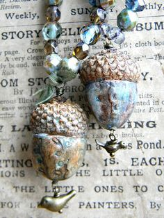 woodland jewelry~ acorn necklaces... another use for Swellegant
