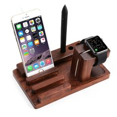 Apple Watch Stand de Madera Wood, Rosewood Charge Dock Soporte para Apple Watch & Docking Station Cradle Bracket para iPod iPhone iPad & Otros Smartphones y Tablets Apple Iphone 6, Iphone 7, Iphone Stand, Apple Watch Ipad, Galaxy Note, Wooden Ipad Stand, Wood Chargers, Ipod, Charger Holder