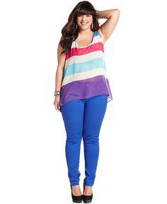 Soprano Plus Size Top, Sleeveless Striped - Junior Plus Size - Plus Sizes - Macy's