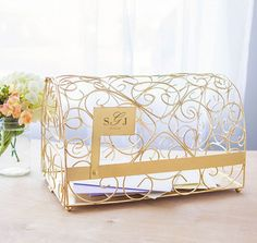 The Gold Gift Card Mailbox Holder will hold all your wedding cards and small gifts in style.