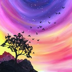 Life with Paint sunset acrylic painting
